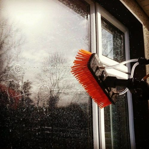 Window Cleaning using long reach brushes
