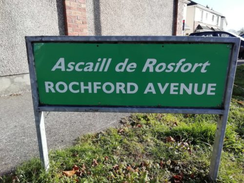 A sign for Rochford Avenue which has been cleaned and looks new by Room with a View Window Cleaning Meath