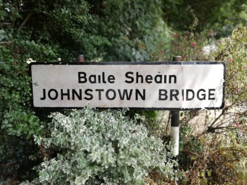 A sign for Johnstown Bridge which has been cleaned and looks spotless, by Room With A View Window Cleaning Meath