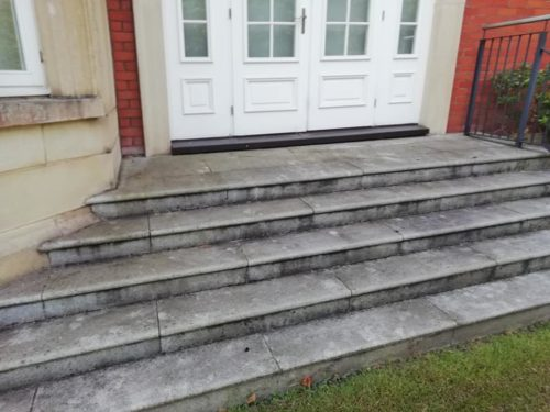 Photo of steps to an entrance that are dirty and covered in mold