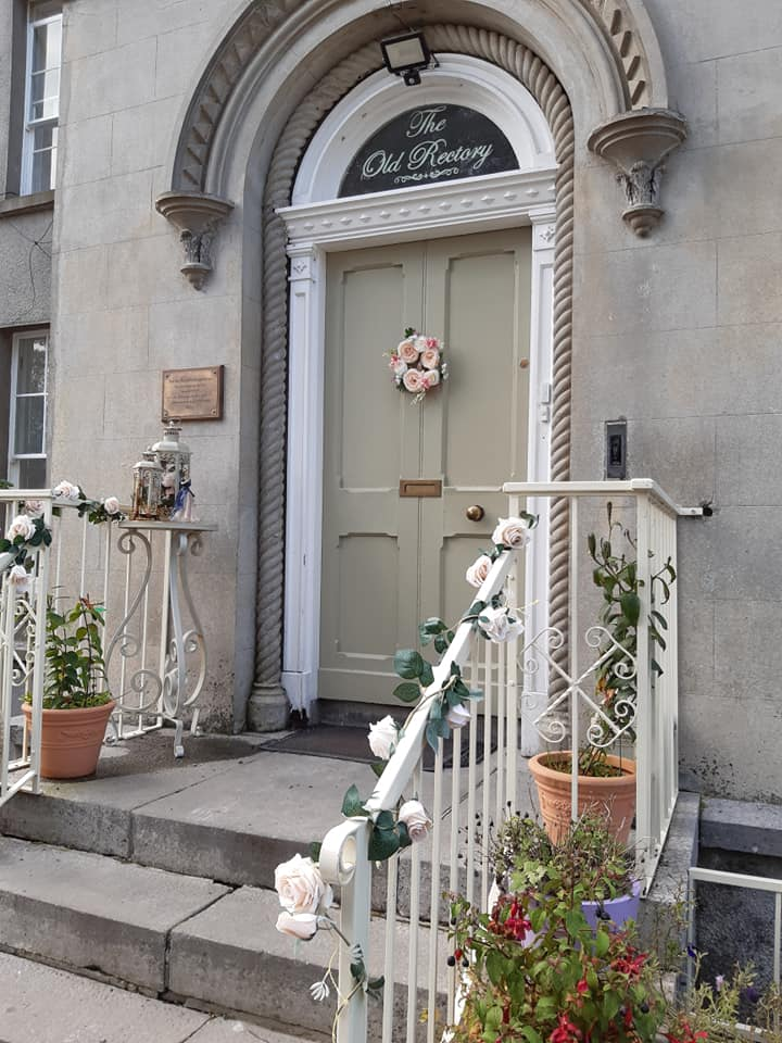 Front door of the Old Rectory Trim - elegant entrance for weddings and parties