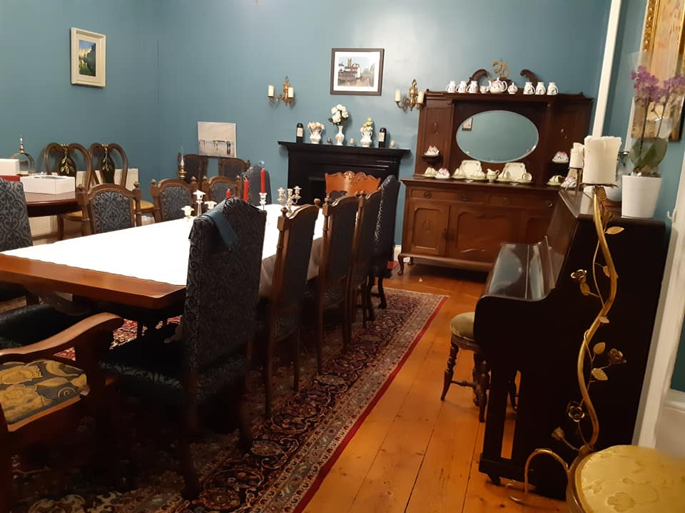The dining hall for sandys supper night is elegant and unique