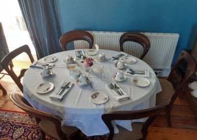 family breakfast with fine china at the old rectory trim