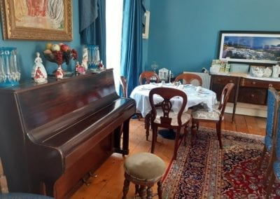 piano ready for performance in the tearooms of our boutique venue trim meath