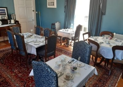 tables set for breakfast and afternoon tea bed and breakfast trim