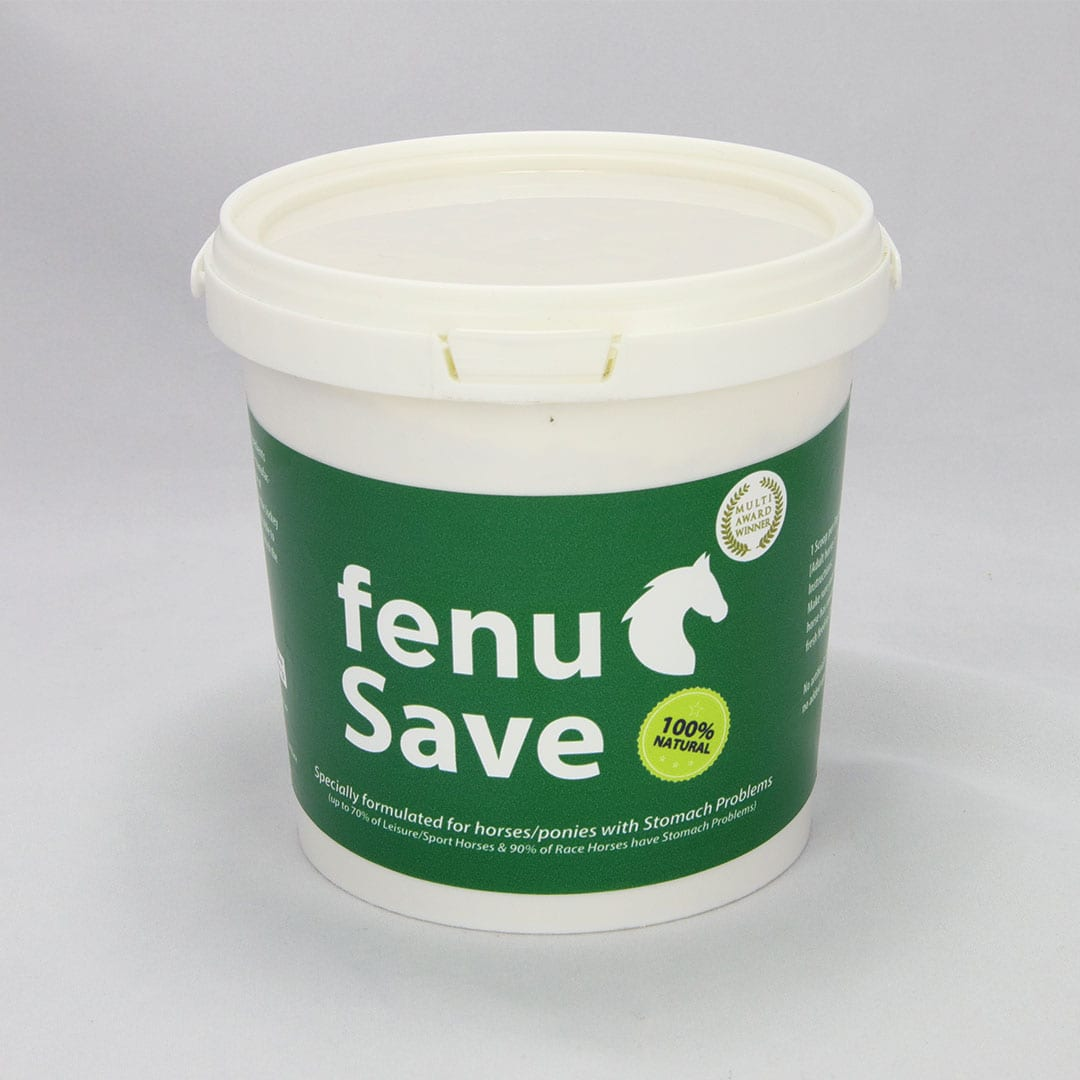 Tub of natural horse food fenusave one month supply