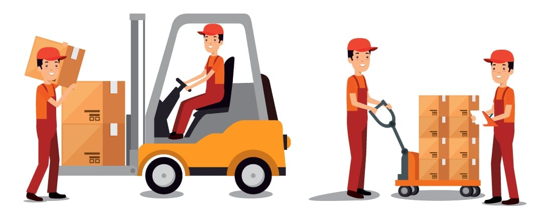 forklift training courses dublin - Global Training Solutions - cartoon of warehouse workers