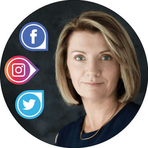 Eimer Duffy FIT Social Media Headshot with Facebook, Instagram Twitter Icons