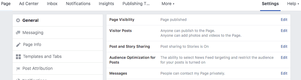 Screenshot of Facebook Business Page Setting