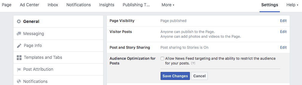 Screenshot of Facebook Business Page settings