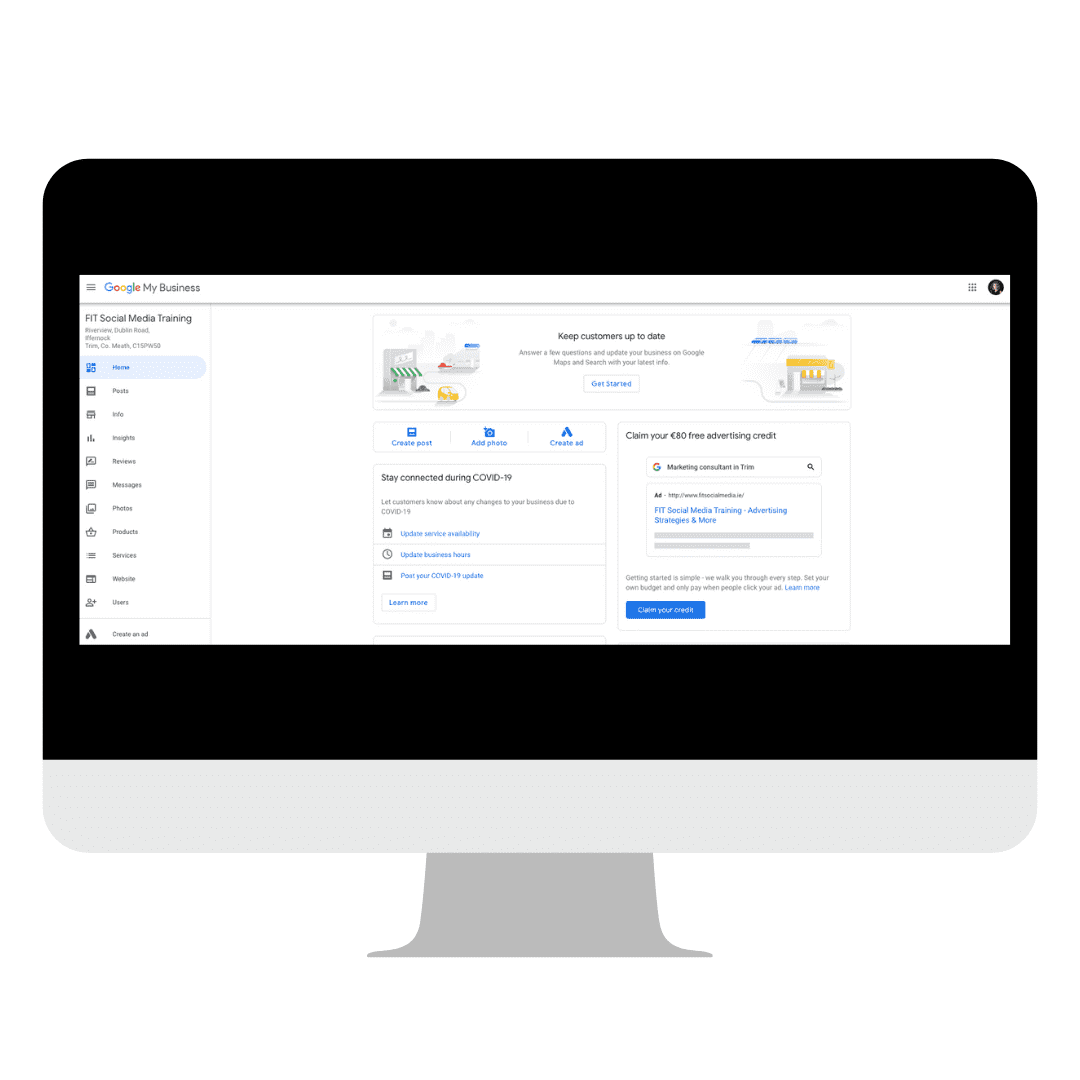 Image of a computer showing my Google My Business home dashboard