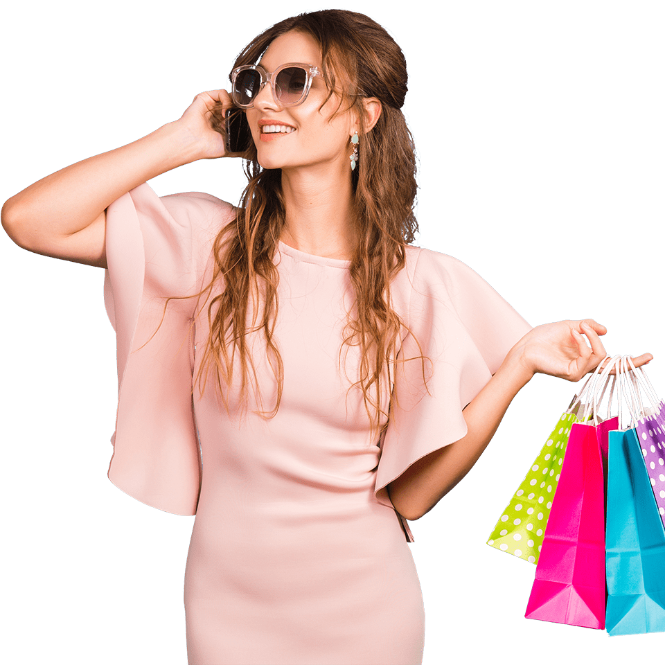 fashion lady on the phone holding shopping bags