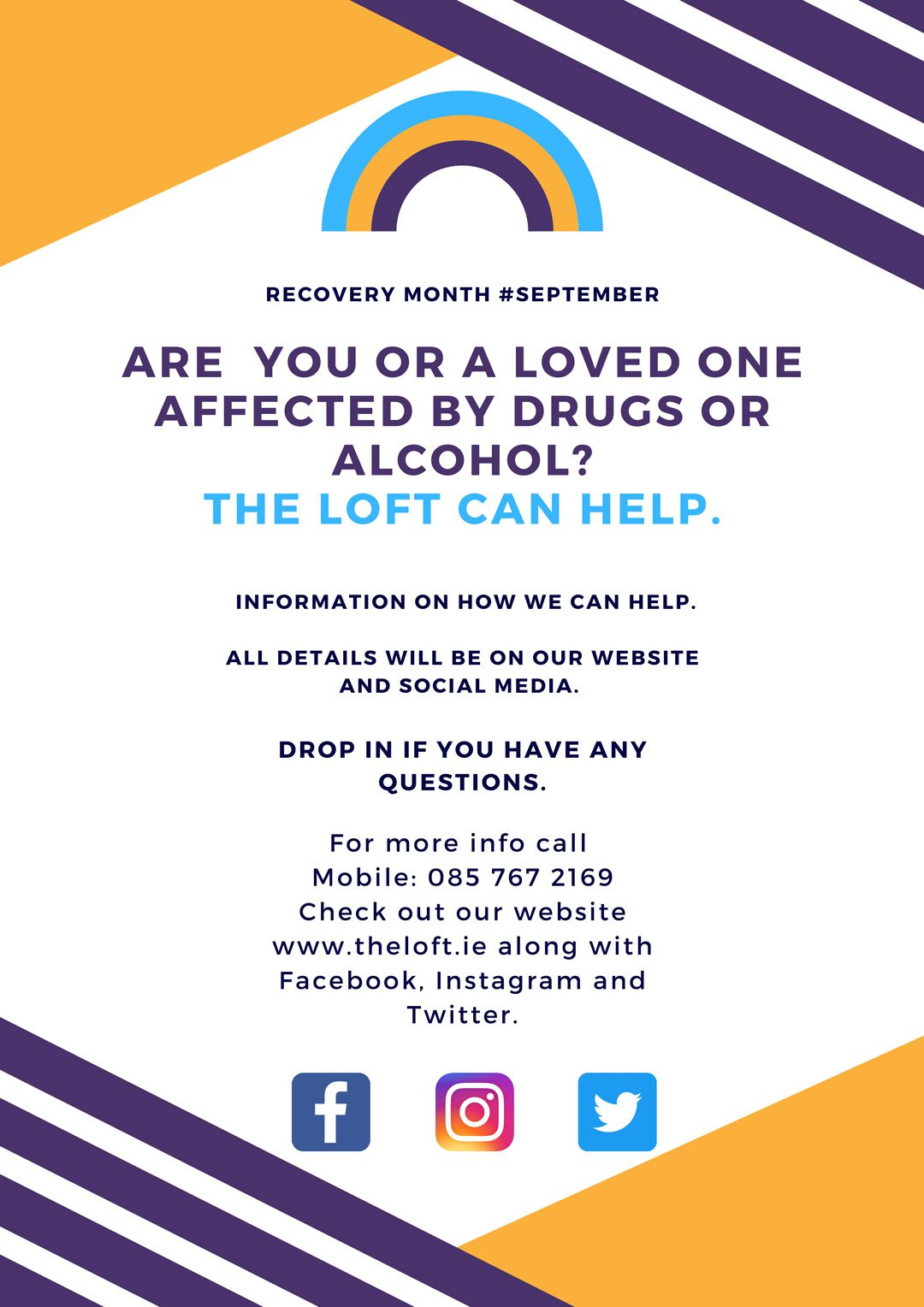 Recovery Month Poster The LOFT Cabra 2021