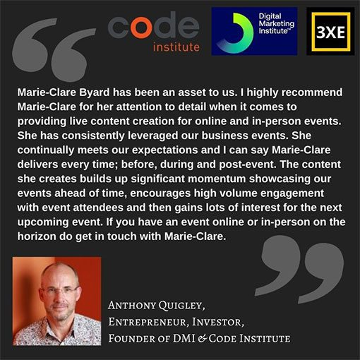 Testimonial Anthony Quigley founder the Code Institute