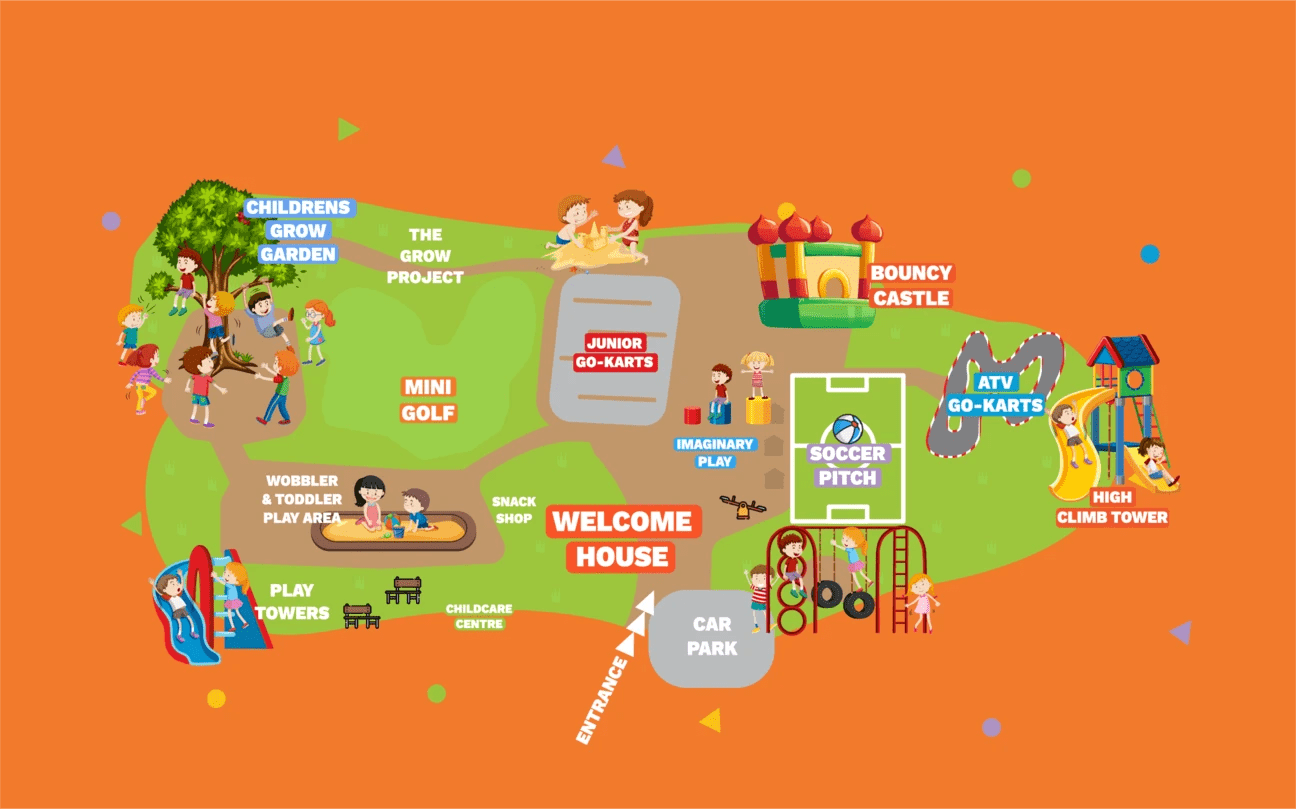 Mellowes Map of adventure centre and childcare facility for kids including playground