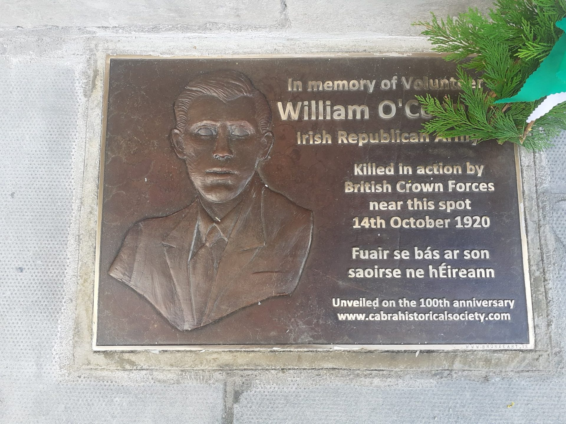 William O Connell Plaque died 14th October 1920 Ireland by Irish Sculptor Michael C Keane Dublin