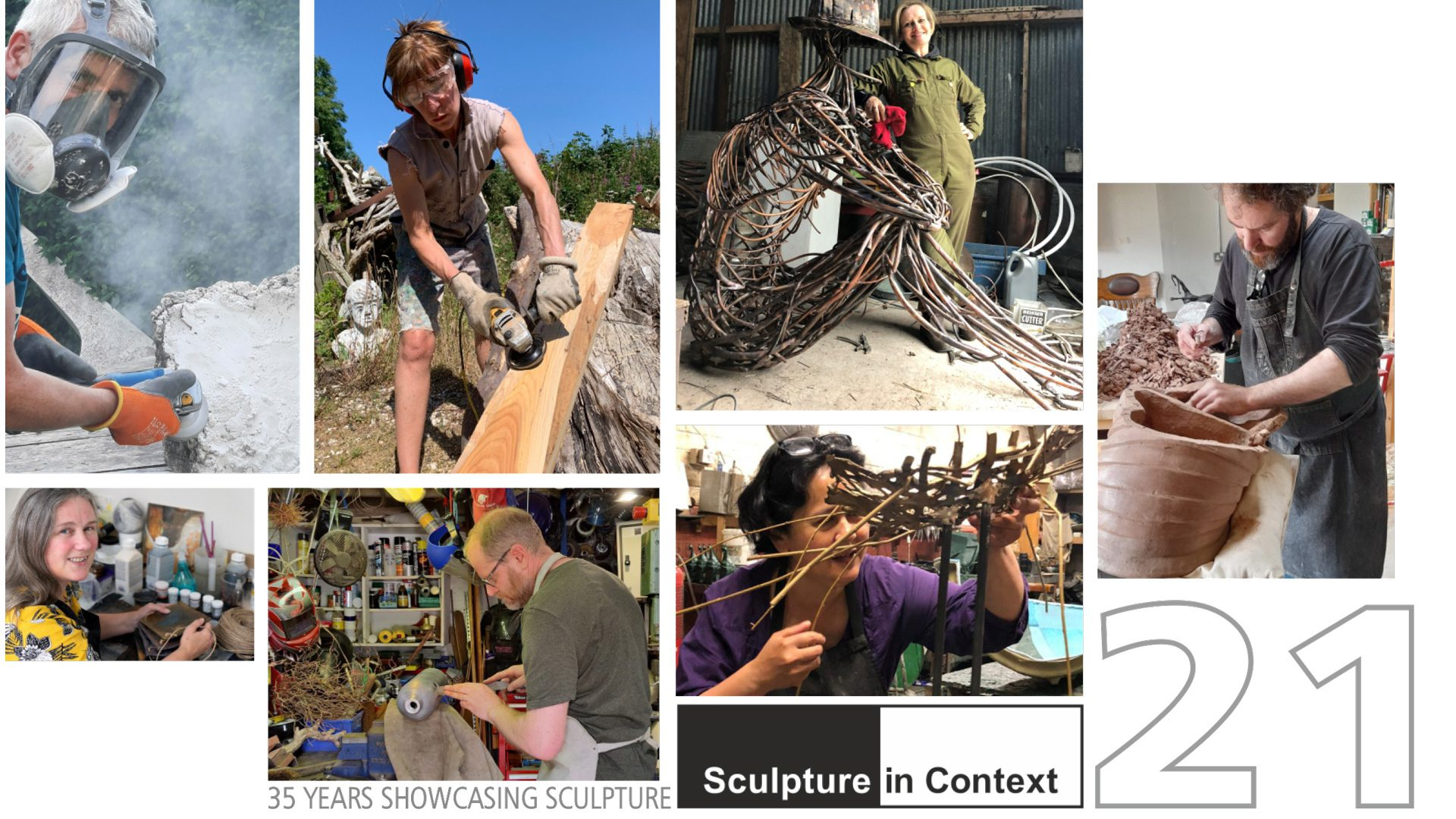 Sculpture in Context 2021 cover photo featuring Michael C Keane Irish Sculptor at work