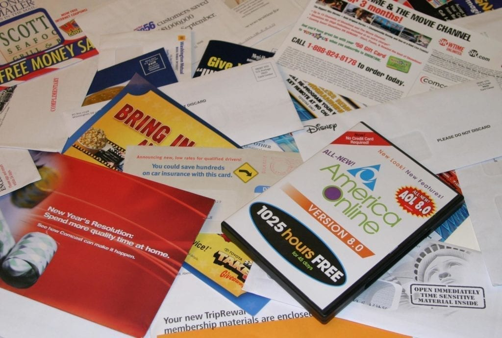 junk Mail and flyers - leave then in the 90s as they are old advertising