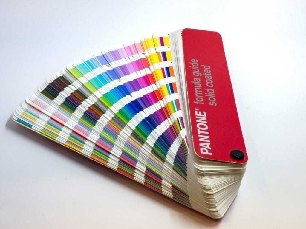 Photo of pantone colour swatches
