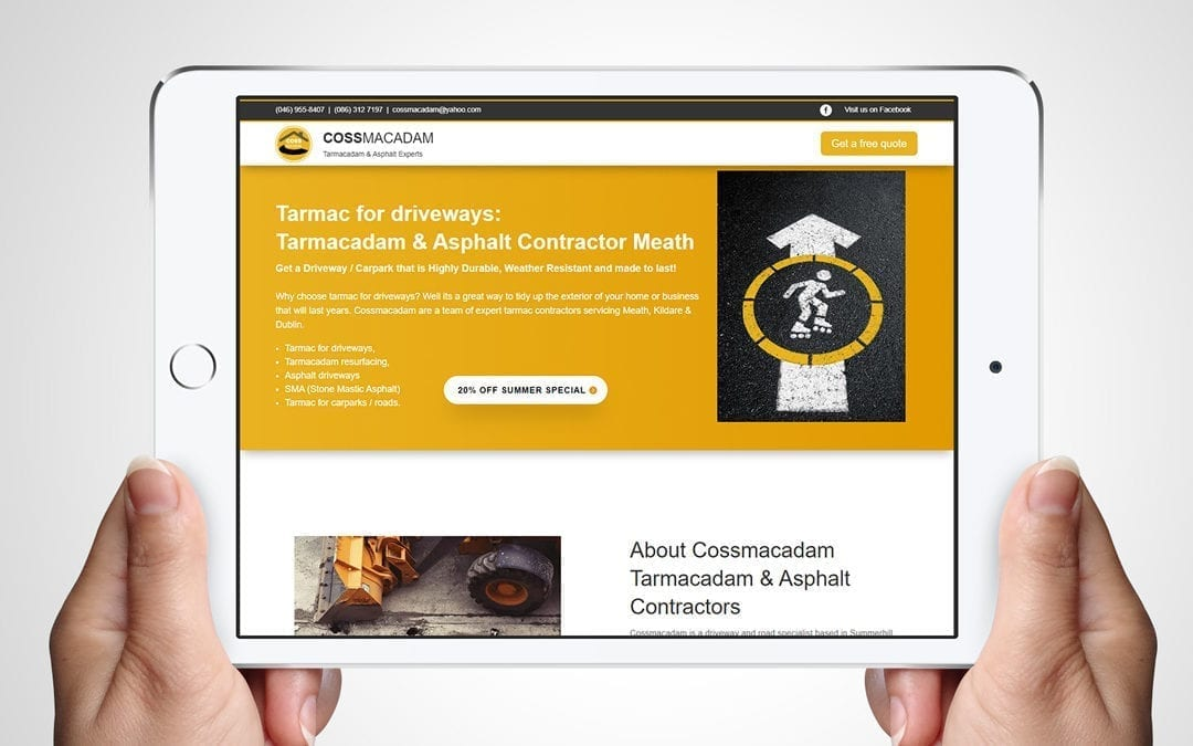Paving Contractor Website Design-Cossmacadam | DesignBurst Meath