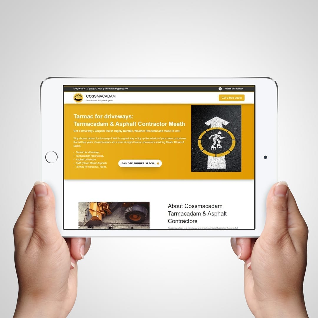 Tarmacadam Website optimised for mobile tablet and desktop - Cossmacadam - Web design by DesignBurst Meath