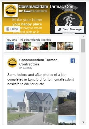 Facebook page feed integrated in to the website for Cossmacadam