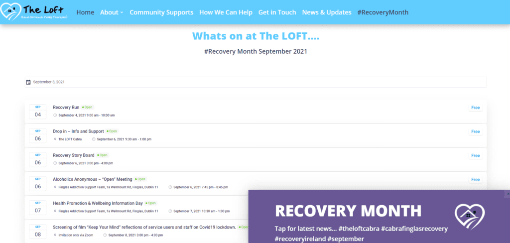 The LOFT recovery Month Booking Calendar not for profit website design