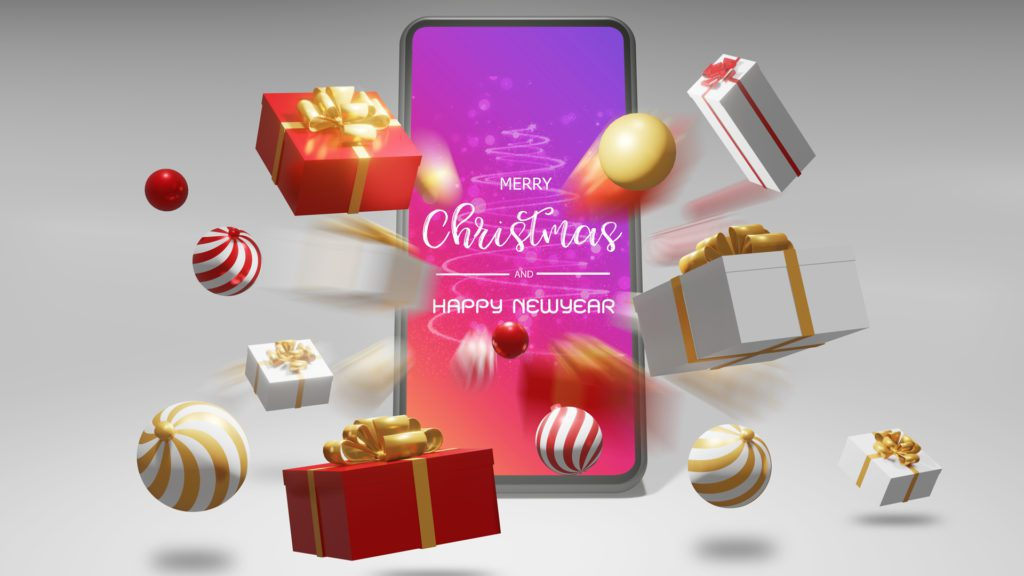 Christmas Shopping Smartphone exploding with gifts